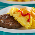 Cheeseburger Topped Scrambled Eggs
